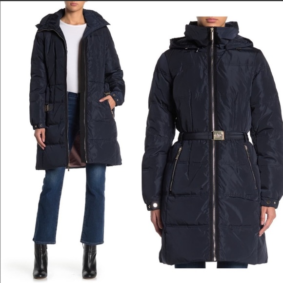 Kate Spade Down Belted Puffer with Zip Hood Navy M